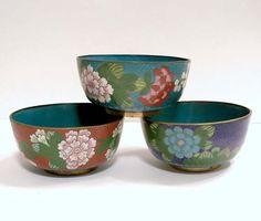 Group of 3 Antique Japanese Cloisonne Bowls by roadtripvintageshop, $78.00