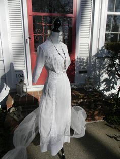 SOLD! $110.00  This gorgeous antique Edwardian Era lingerie wedding gown is currently for sale in our Ebay shop: http://cgi.ebay.com/ws/eBayISAPI.dll?ViewItem=170788880575=STRK:MESE:IT
