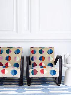 Olinda Velvet fabric in blue/multi from Jane Churchill