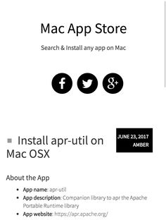 Install Apr Util Software On Os X Click On Visit Button On Right Side To See Installation Instructions This Method Is Supported O Osx Mac App Store Apple Mac