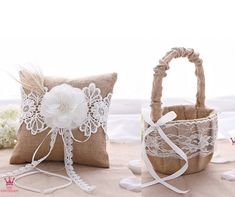 Buy Rustic Wedding Hessian Burlap Lace Ring Pillow and Flower Girl Basket Set Party Favors at Wish - Shopping Made Fun Wedding Pillows, Ring Pillow Wedding, Wedding Burlap, Wedding Decor, Lace Wedding, Rustic Flower Girls, Rustic Flowers, Rustic Wedding Rings, Burlap Lace