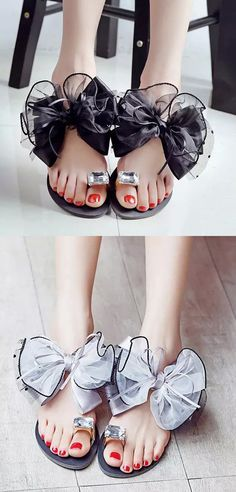 da4d2ac6e1a41c Big Size Butterflyknot Lace Bead Crystal Clip Toe Flat Flip Flops Sandals