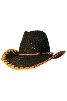 Black Paper Braid Cowboy Hat With Tan Trim Cowgirl Hats, Western Hats, Western Style, Tan Hat, Love Hat, Black Paper, Brim Hat, Caps Hats, Shoe Bag