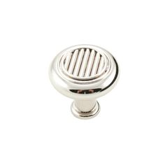 This polished nickel finish cabinet knob with lines in middle design is part of the Corcoran Series Cabinet Hardware Collection from RK International and features a perfect blend of craftmanship in traditional and contemporary design to complement any decor.