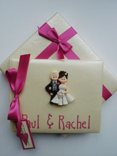 Fuschia Pink and Silver Fimo Wedding Guest Book £35.00 www.beadazzledesigns.co.uk