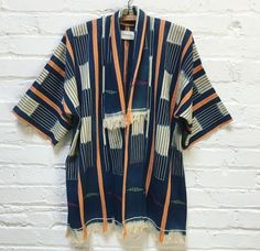 """Loose kimono jacket by Mira Blackman. Baoule, handwoven, vintage African strip-cloth from Cote d""""Ivoire."""