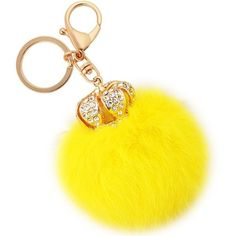 Amazon.com: Jiann Creative Furry Ball Crown Keychain High Quality Long... ($15) ❤ liked on Polyvore featuring accessories, blue crown, long key chains, crystal crown, fur key chain and fob key chain