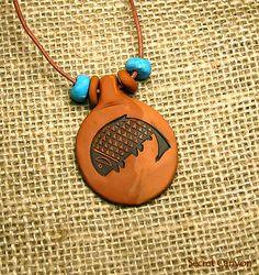 Petroglyph Mimbres Fish Motif Clay Pendant by SecretCanyon on Etsy, $10.50