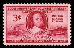 Volunteer or otherwise, fire fighters perform an absolutely essential service in American society. This stamp honoring firemen was issued on the 300th anniversary of volunteer firemen service in the United States.