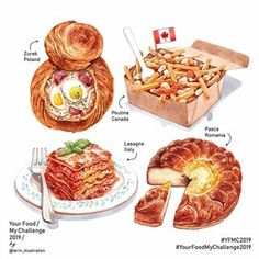 Welcome to the new week of hard work and victory ☺ 🇮🇹🇹🇩🇵🇱🇨🇦 Your Food My Challenge 2019 # # Real Food Recipes, Yummy Food, Cute Food Art, Food Sketch, Watercolor Food, Food Painting, Food Drawing, Logo Food, Food Packaging