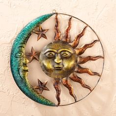 and Green Colors Hand-Painted in Orange for Indoor//Outdoor Decor Collections Etc Metallic Iron Sun Wall Art Yellow