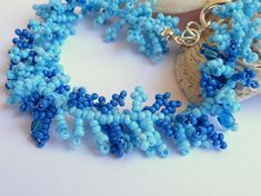 Shades of blue fringe bracelet. Italian handmade jewelry by Poppies Dreams