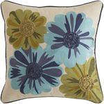 Lucien Embellished Floral Pillow - Blue & Green