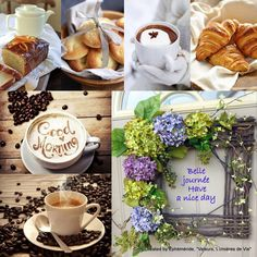 Good morning, and bon appetite. Good Morning Picture, Good Morning Good Night, Morning Pictures, Morning Pics, Morning Quotes, Happy Saturday, Happy Weekend, Food Collage, Multi Picture