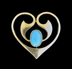 Art Nouveau Heart Brooch by Murrle Bennett & Co.  Gold and turquoise.  Anglo-Ger...