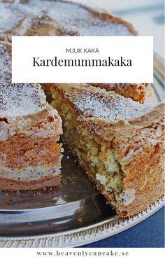 Kardemummakaka | Swedish Cardamom Cake, recipe in Swedish Heavenly Cupcake Köstliche Desserts, Delicious Desserts, Dessert Recipes, Swedish Recipes, Sweet Recipes, Swedish Cake Recipe, Wine Recipes, Baking Recipes, Cardamom Cake