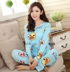 2015 new womens pajamas sweet cotton Animal Cartoon little cat Winter Pajamas Woman Indoor Clothing Home Suit Sleepwear Pyjamas