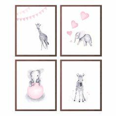 Baby Animals Wall Art Nursery Decor, Pink and Gray, Baby Elephant, Zebra, Giraffe, Art for Baby Girl, Wall Art, Set of 4 Prints - S401
