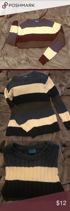 Blue white Navy and gray boys sweater You can't go wrong with stripes!!!! Big or small, vertical or horizontal, STRIPES ARE ALWAYS IN STYLE!!! Style your young man the right way with this super cozy sweater! The Children's Place Shirts & Tops Sweaters