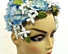 vintage floral fascinator - 1950s blue floral hat