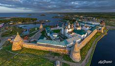 Monastério em Solovetsky, no norte da Rússia. Foto: AirPano