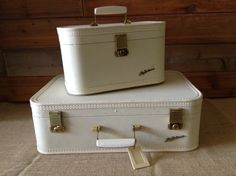 No. 150 Vintage Luggage Suitcase 2 PC Vintage Lady Baltimore Vinyl Suitcase & Train Case by ReEmporium on Etsy