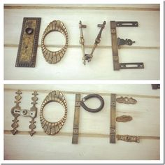 """""""Love and Hope""""  made from random hardware found at ReHouse.  www.rehouse.com Diy Signs, Wood Signs, Recycled Art, Repurposed, Farm Crafts, Wood Crafts, Diy Crafts, Homemade Signs, Found Object Art"""