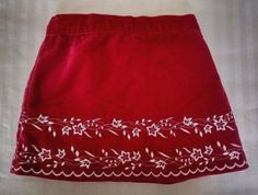 Old Navy Toddler Girl Skirt 18-24M Red Velvet White Embroidered Swiss Flowers #OldNavy #Aline #DressyEverydayHoliday