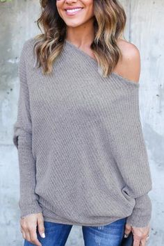 Lightweight Off Shoulder Bat Long Sleeves Loose Jumper In Grey US$17.95