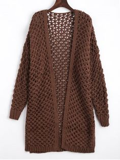 Cut Out Open Front Cardigan - COFFEE ONE SIZE