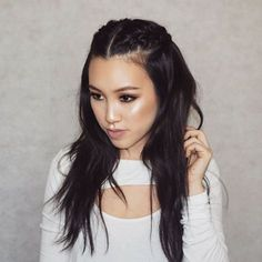 Half-Up Pigtail French Braids: half-up style with braids fastened at the crown of the head, and let the rest of hair fall into loose waves