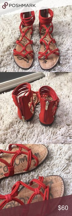Sam Edelman orange strappy Sandals Never worn and was used as a display only.. Please look at the pictures and make me an offer..The color is like orange but more on red ishhh side  ..Please share my listing guys Thanks 🙏🏼 Sam Edelman Shoes Sandals