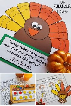 Turkey Craft. Making 5. Sums of 5. Sums of 10. Decomposing Turkey. Decompose 5. Decompose 10. Kindergarten Craft. 1st Grade Craft. Kindergarten Turkey Craft. Math Craft. Math Centers. Thanksgiving Craft. Thanksgiving Activities. Thanksgiving Math Centers.