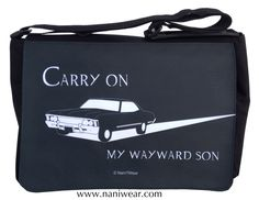 "Supernatural Messenger/Laptop Bag: Carry On, My Wayward Son  Fits a 15"" laptop, with plenty of pockets for cords and peripherals."