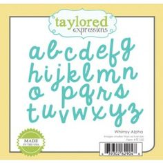 The Taylored Expressions Whimsy Alpha die is a beautiful set of cursive lettering that will make your cards and scrapbooks that much more special. Cursive Letters, Paper Craft Supplies, Expressions, Big Shot, Scrapbooks, Lettering, Learning, Die Cutting, Crafting