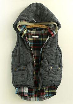 Grey Vest w/Plaid Interior
