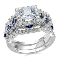 2.5ct Princess White Cz Blue 925 Sterling Silver Wedding Engagement Ring Set 3pcs