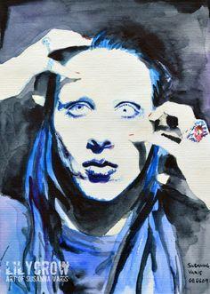 Blue - Marilyn Manson by Susanna Varis water color 2008