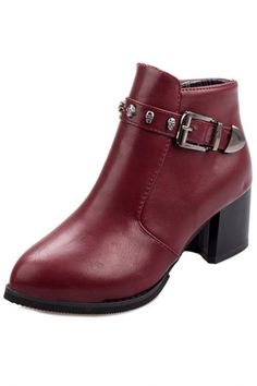 Fashion Buckle Skull Deco #PU Ankle #Booties - OASAP.com ★ FREE SHIPPING + 70% OFF for Thanksgiving Day!