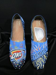 Hand Painted Oklahoma City Thunder shoes by PaintedDreamsbyDS, $110.00 THESE ARE AMAZEBALLS