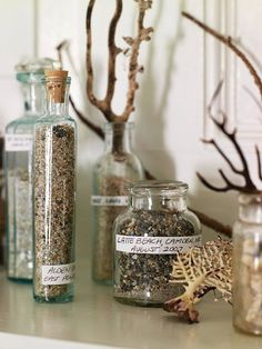 I love the beach. Beach sand collection: bottle, label & date. Then intermingle coral and dried sea plants with your sand memories for a meaningful vignette. Home Beach, Beach House, Do It Yourself Decoration, Sand Collection, Nature Collection, Summer Collection, Deco Nature, Farmhouse Side Table, Vacation Memories