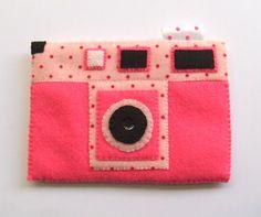 Pink Summer Polka Dots Camera iPhone Felt Case. Retro style.