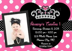 Minnie Mouse Princess Birthday Invitations by TheTrendyButterfly, $13.00