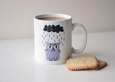 Grumpy Cat Mug in Grey & Charcoal by miristudio on Etsy, £9.00