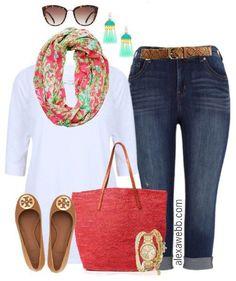 Plus Size Preppy Summer Outfit - Plus Size Fashion for Women - Alexawebb.com #alexawebb