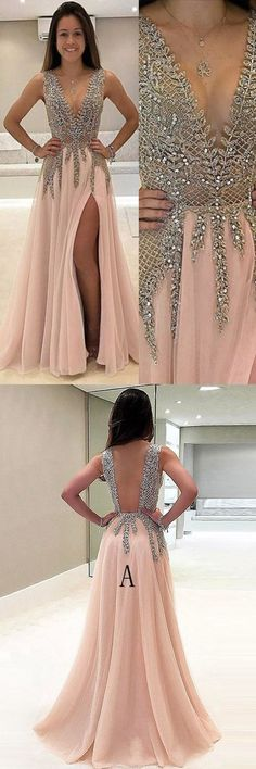 Long Prom Dresses Gold, 2018 Party Dresses A-line Luxury, V-neck Formal Dresses Chiffon with Beading, Modest Evening Dresses Cheap