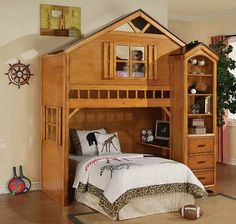 House wood twin Loft Bed with desk drawer shelf