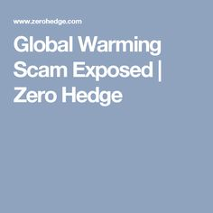Global Warming Scam Exposed | Zero Hedge