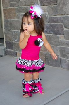 The Hot Pink Damask Boutique Dress w/Leg Warmers only $15.99 at www.gabskia.com