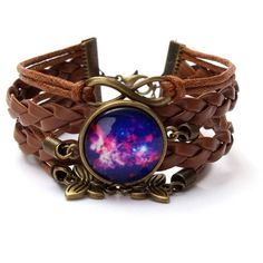 Butterfly Multicolor Galaxy Time Leather Bracelets ($3.11) ❤ liked on Polyvore featuring jewelry, bracelets, vintage bangle, colorful bangles, colorful jewelry, butterfly bangle and cosmic jewelry